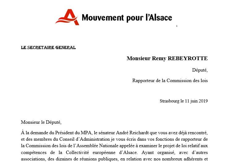 Notre courrier au Rapporteur de la Commission des Lois